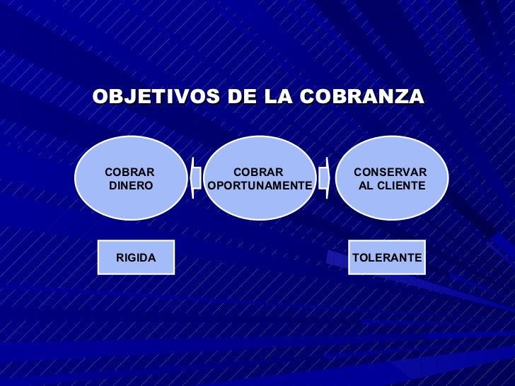 OBJETIVOS DE LA COBRANZA COBRAR  OPORTUNAMENTE CONSERVAR  AL CLIENTE COBRAR   DINERO RIGIDA TOLERANTE