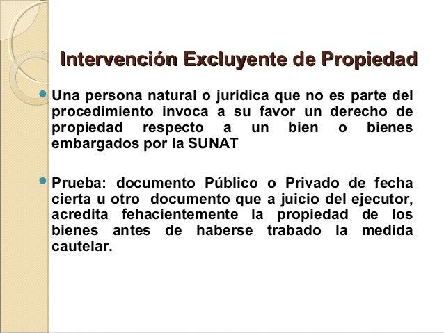 Intervención Excluyente de PropiedadIntervención Excluyente de Propiedad  Una persona natural o juridica que no es parte ...