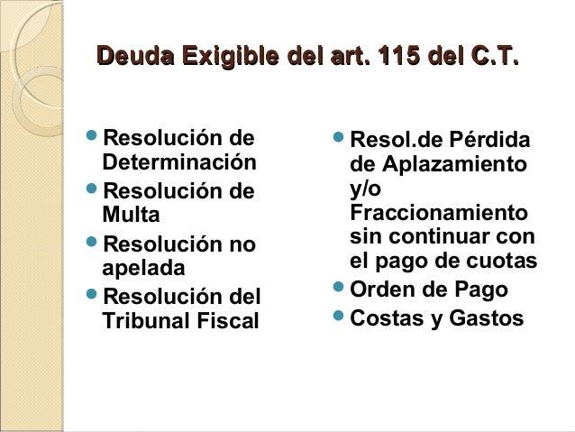 Deuda Exigible del art. 115 del C.T.Deuda Exigible del art. 115 del C.T. Resolución de Determinación Resolución de Multa...