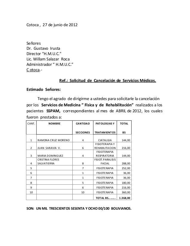 """Cotoca , 27 de junio de 2012 Señores Dr. Gustavo Irusta Director """"H.M.U.C."""" Lic. Willam Salazar Roca Administrador """" H.M.U..."""