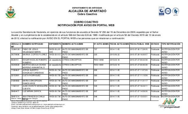 DEPARTAMENTO DE ANTIOQUIA ALCALDÍA DE APARTADÓ Cobro Coactivo COBRO COACTIVO NOTIFICACIÓN POR AVISO EN PORTAL WEB La suscr...