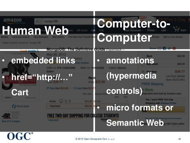 "OGC ® © 2015 Open Geospatial Consortium 44 Human Web • embedded links • href=""http://…"" Cart Computer-to- Computer • annot..."