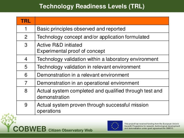 Technology Readiness Levels (TRL) TRL 1 Basic principles observed and reported 2 Technology concept and/or application for...