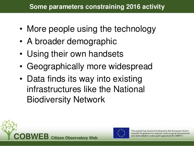 Some parameters constraining 2016 activity • More people using the technology • A broader demographic • Using their own ha...