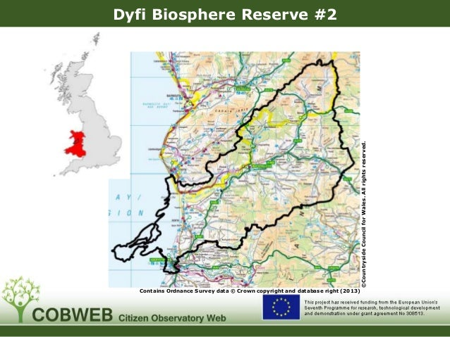 Dyfi Biosphere Reserve #2 Contains Ordnance Survey data © Crown copyright and database right (2013) ©CountrysideCouncilfor...