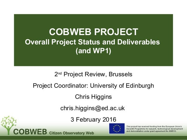 COBWEB PROJECT Overall Project Status and Deliverables (and WP1) 2nd Project Review, Brussels Project Coordinator: Univers...