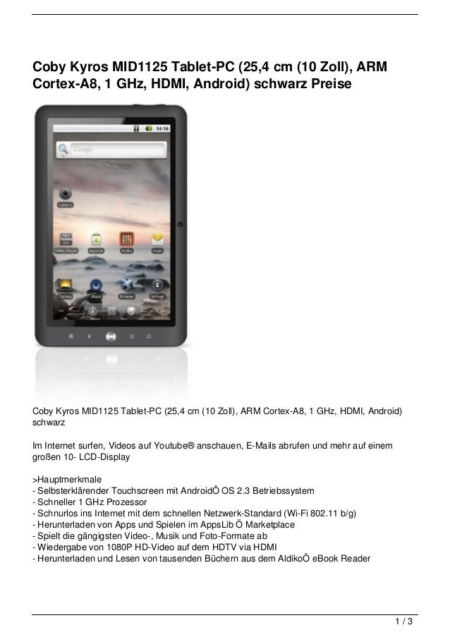Coby Kyros MID1125 Tablet-PC (25,4 cm (10 Zoll), ARMCortex-A8, 1 GHz, HDMI, Android) schwarz PreiseCoby Kyros MID1125 Tabl...