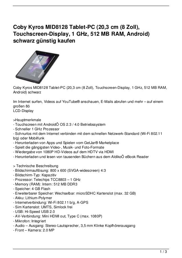 Coby Kyros MID8128 Tablet-PC (20,3 cm (8 Zoll),Touchscreen-Display, 1 GHz, 512 MB RAM, Android)schwarz günstig kaufenCoby ...