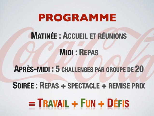 PROGRAMME     MATINÉE : ACCUEIL ET RÉUNIONS              MIDI : REPASAPRÈS-MIDI : 5 CHALLENGES PAR GROUPE DE 20SOIRÉE : RE...