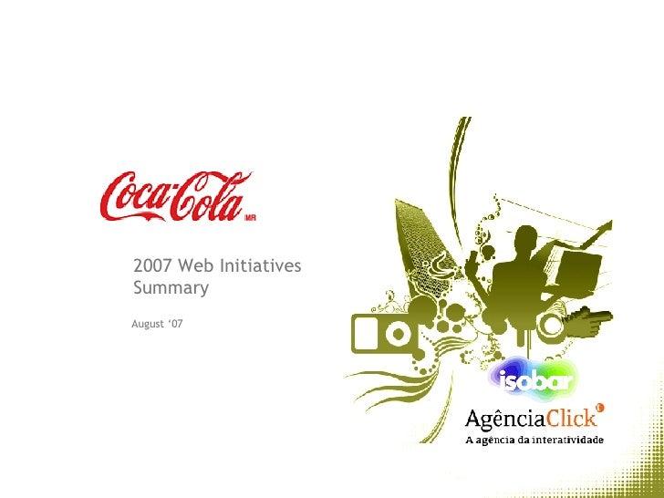 August '07 2007 Web Initiatives Summary