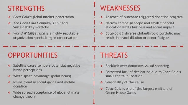 the strengths of the coca cola company A swot analysis of coca-cola reveals its main strength as the most valuable brand in the world, while its main weakness is that most of its products are carbonated drinks the increasing consumption.