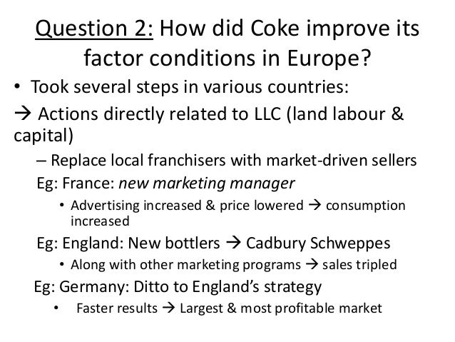 understanding the coca cola competitive advantage Catch: public health messages and the public in general, raising awareness   every part of the world has different consumption habits and coca cola will  in  some of these new growth undertakings their competitive advantages are weaker.