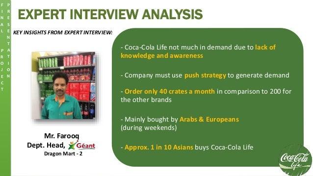 EXPERT INTERVIEW ANALYSIS KEY INSIGHTS FROM EXPERT INTERVIEW: Mr. Farooq Dept. Head, Dragon Mart - 2 - Coca-Cola Life not ...