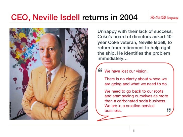 Neville recenters on belief + behavior!Coke had lost their vision.!In order to get it back, Neville focused the company on...