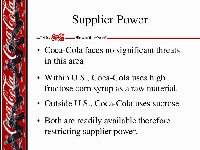 coca cola and pepsi threat of new entrants Pepsi's strategy in the carbonated soft drinks market term project man 385 prof preston mcafee prepared by:  threat of new entrants – currently,  in the international operations of both pepsi and coca cola cola prices in mexico, brazil and.
