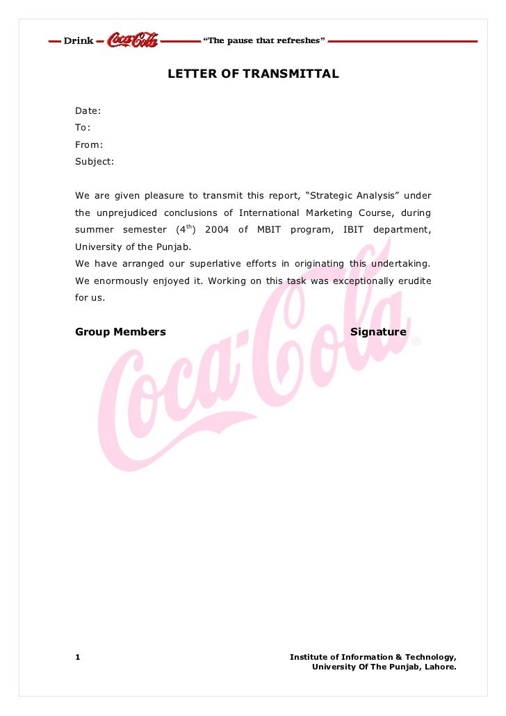Coca Cola Cover Letter Sample