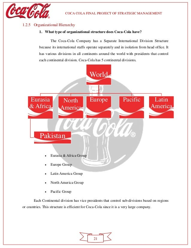 the organizational structure of the coca cola company