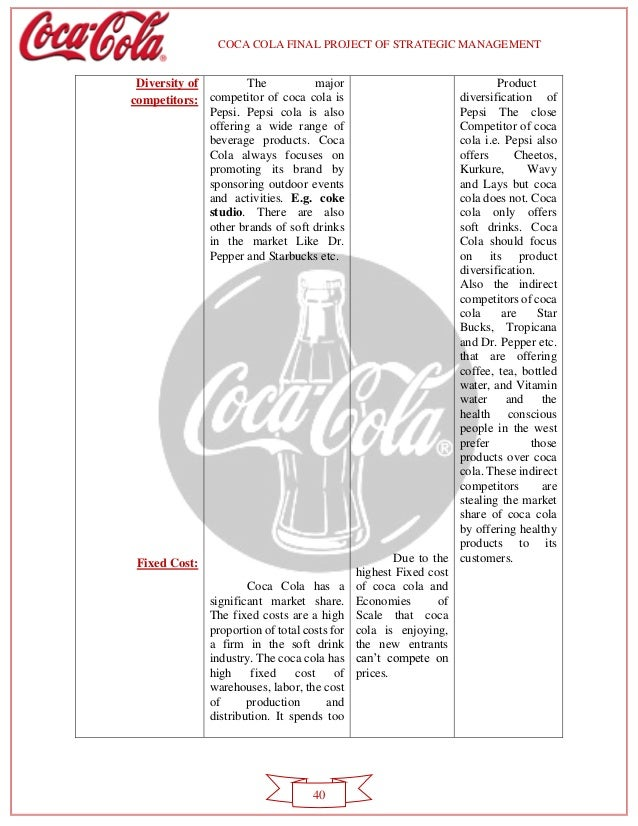 coca cola project strategy Understand more about the coca-cola company and the pepsico company learn about the key similarities and differences that make both companies successful.