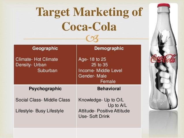 coca cola target market Coca-cola will also use print ads in magazines, billboards, and the internet in addition, product placement in movies and tv shows will be used the reason why coca-cola will use network, spot, and cable tv is because this is the best way to get the attention of our target audience.