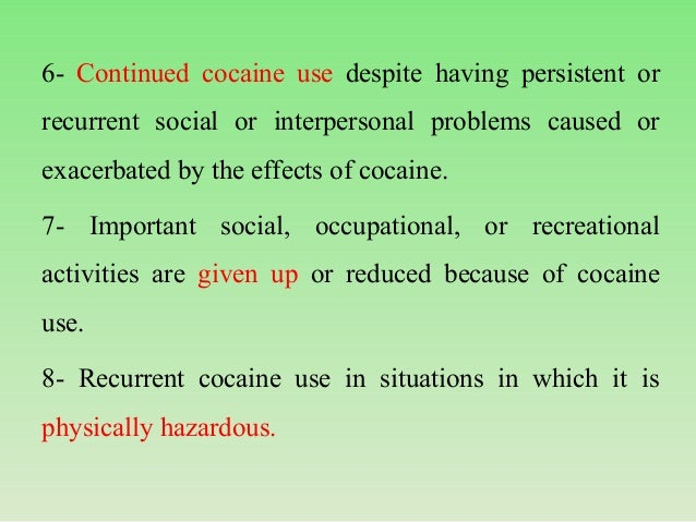 cocaine essay Cocaine dependence treatment faces a number of problems, both connected with the variety of factors involved in the development of cocaine d.