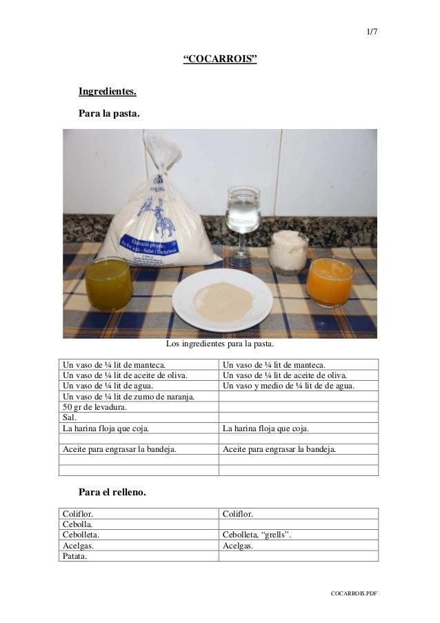 "1/7 COCARROIS.PDF ""COCARROIS"" Ingredientes. Para la pasta. Los ingredientes para la pasta. Un vaso de ¼ lit de manteca. Un..."