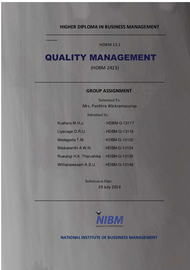 quality management system of coca cola quality management system n a t i o n a l i n s t u t e o f b u s i n e s s m a n a g e m e n t page 2 higher diploma