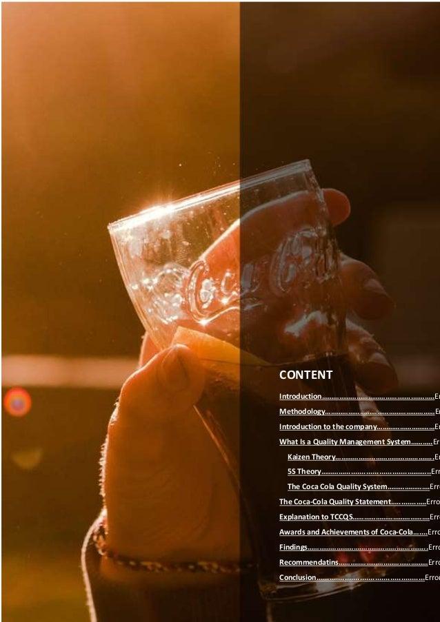 Coca cola quality management