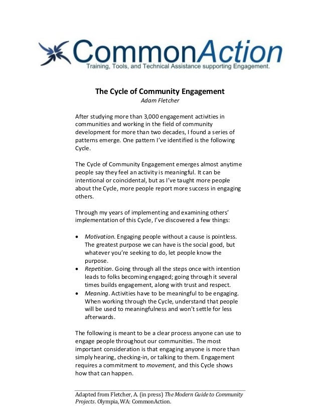 Adapted from Fletcher, A. (in press) The Modern Guide to Community Projects. Olympia, WA: CommonAction. The Cycle of Commu...