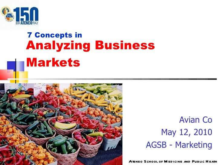 Analyzing Business Markets Avian Co May 12, 2010 AGSB - Marketing 7 Concepts in Ateneo School of Medicine and Public Heath