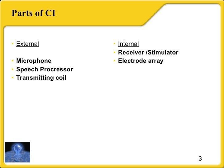 Parts of CI <ul><li>External </li></ul><ul><li>Microphone </li></ul><ul><li>Speech Procressor </li></ul><ul><li>Transmitti...