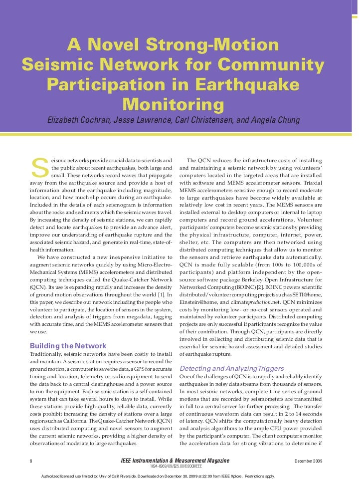 A Novel Strong-MotionSeismic Network for Community  Participation in Earthquake          Monitoring        Elizabeth Cochr...