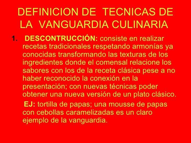 Cocina de vanguardia for Gastronomia definicion