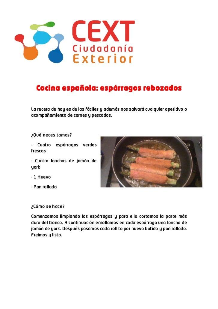 Cocina espa ola esp rragos rebozados for Cocina espanola