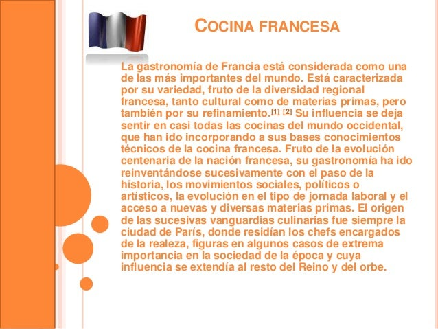 Cocina francesa for Introduccion a la gastronomia pdf
