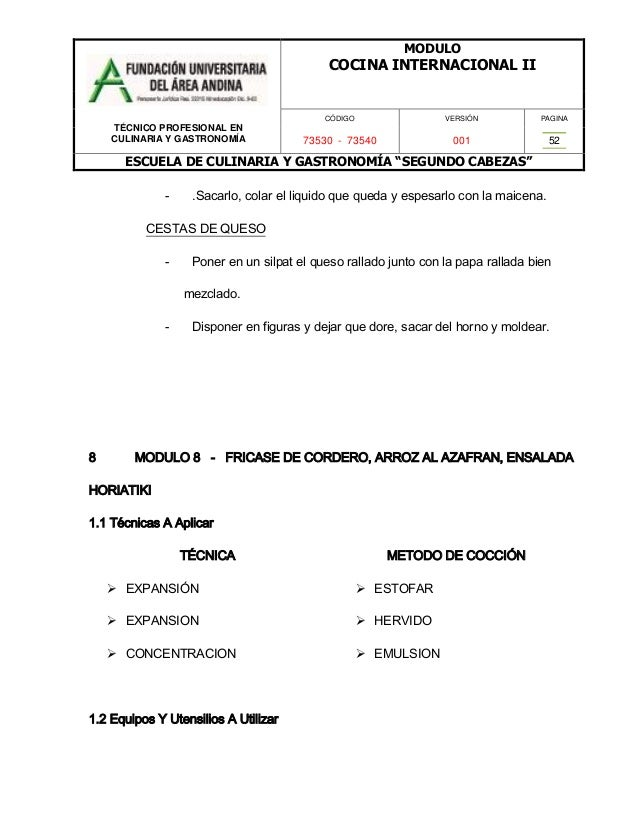 Cocina internacional ii - Escuela de cocina azafran ...