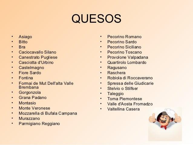 QUESOS•   Asiago                          •   Pecorino Romano•   Bitto                           •   Pecorino Sardo•   Bra...