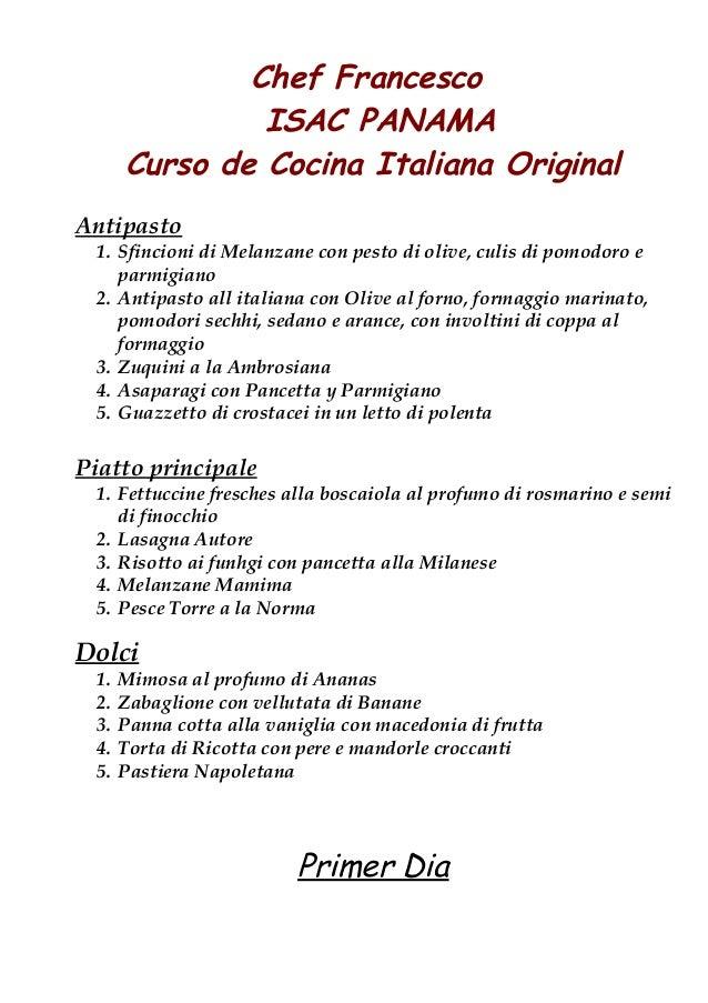 Cocina italiana chef francesco gianetto enero 2013 for Manual de procedimientos de cocina en un restaurante