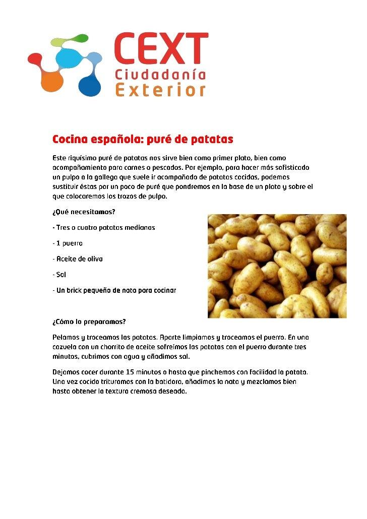 Cocina espa ola pur de patatas for Cocina espanola
