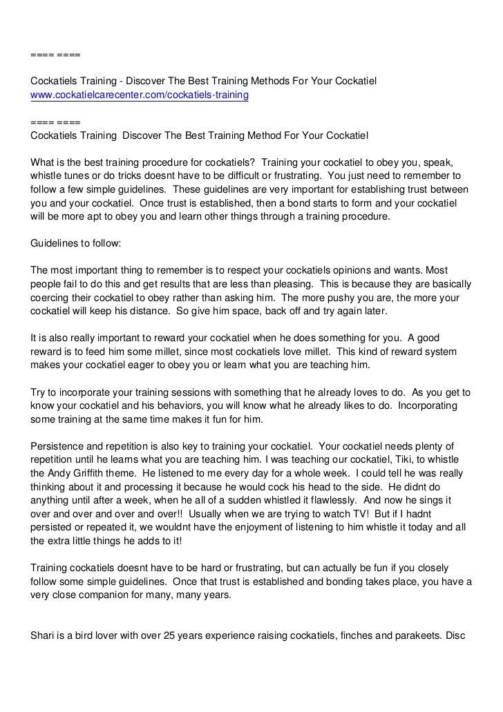 ==== ====Cockatiels Training - Discover The Best Training Methods For Your Cockatielwww.cockatielcarecenter.com/cockatiels...