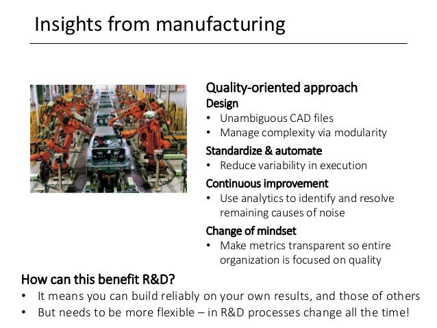 Insights from manufacturing How can this benefit R&D? • It means you can build reliably on your own results, and those of ...