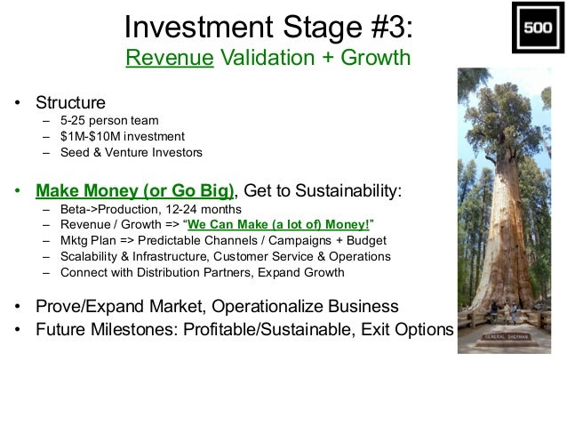 Investment Stage #3:  Revenue Validation + Growth • Structure – 5-25 person team – $1M-$10M investment – Seed & Venture I...
