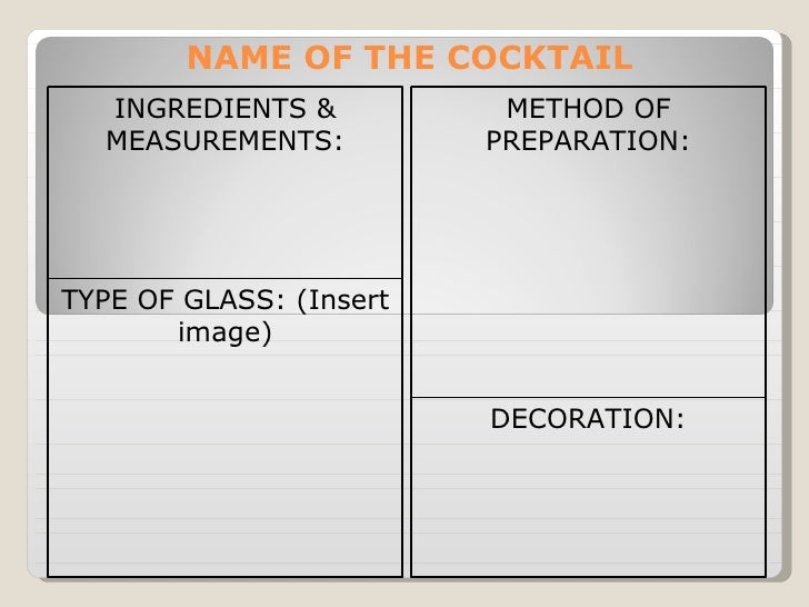 NAME OF THE COCKTAIL  INGREDIENTS &           METHOD OF  MEASUREMENTS:          PREPARATION:TYPE OF GLASS: (Insert       i...