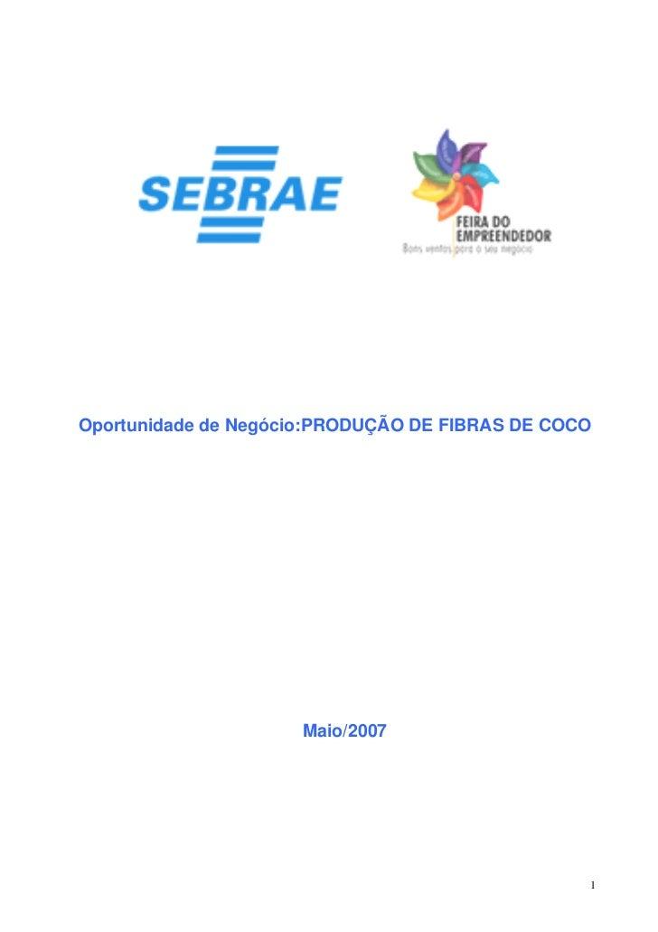 Oportunidade de Negócio:PRODUÇÃO DE FIBRAS DE COCO                     Maio/2007                                          ...