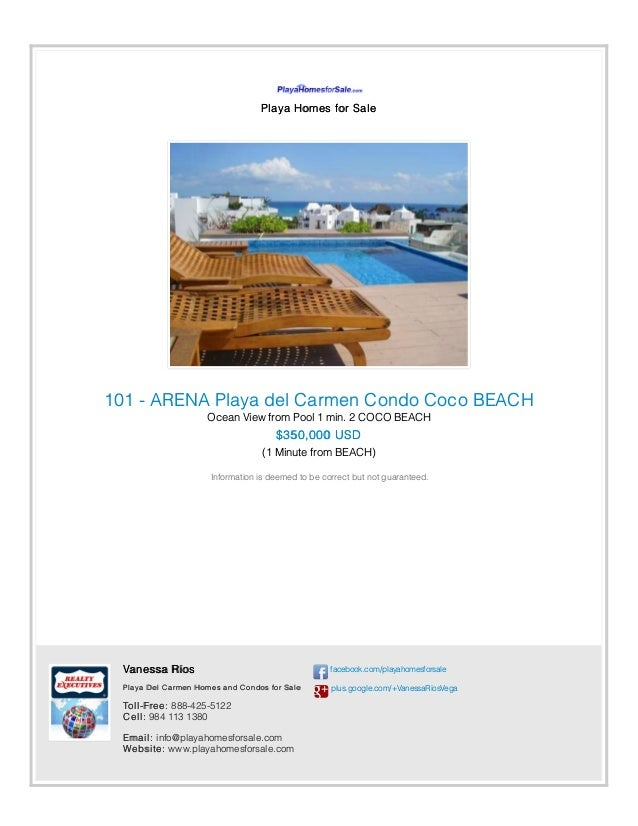 Playa Homes for Sale 101 - ARENA Playa del Carmen Condo Coco BEACH Ocean View from Pool 1 min. 2 COCO BEACH $350,000 USD (...