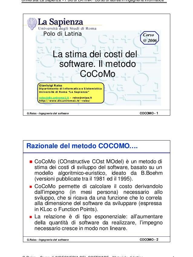 Università La Sapienza – Polo di LATINA - Corso di laurea in ingegneria Informatica                Polo di Latina         ...