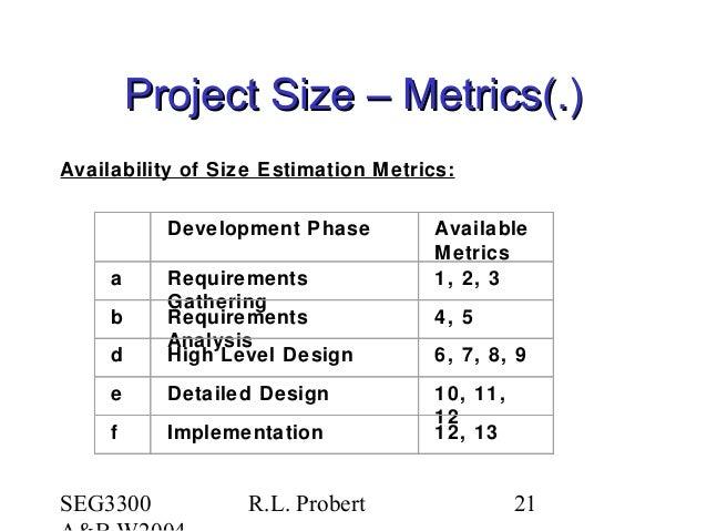 SEG3300 R.L. Probert 21 Project Size – Metrics(.)Project Size – Metrics(.) Availability of Size Estimation Metrics: Develo...