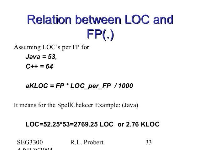 SEG3300 R.L. Probert 33 Relation between LOC andRelation between LOC and FP(.)FP(.) Assuming LOC's per FP for: Java = 53, ...
