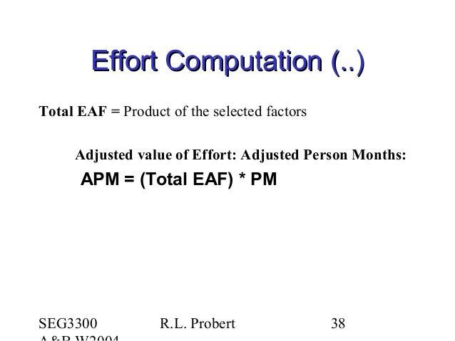 SEG3300 R.L. Probert 38 Effort Computation (..)Effort Computation (..) Total EAF = Product of the selected factors Adjuste...