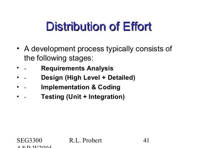 SEG3300 R.L. Probert 41 Distribution of EffortDistribution of Effort • A development process typically consists of the fol...