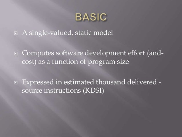 """   It computes software development effort as a    function of program   Size and a set of fifteen """"cost drivers"""" that  ..."""